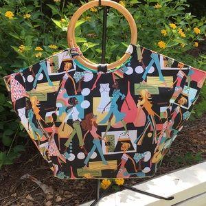 Neiman Marcus Canvas Bag with wooden handles - EUC